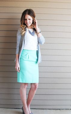 From My Grey Desk Blog I love this outfit. Looks awesome. especially the mint pencil skirt.