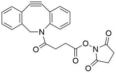 DBCO-NHS Ester is an amine-reactive building block used for modification of amine-containing molecule in organic media. Find more from Click Chemistry Tools! Expand the boundary of your discovery research with our click chemistry toolbox.
