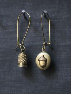 Vintage brass thimble and acorn locket peter pan and by owlandlark, $28.00