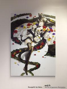 Rouage02, by Hakus  #japanese #girl #flowers #aluminium #canvas #artwork