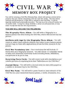 Civil War Memory Box Project - History in a Box!