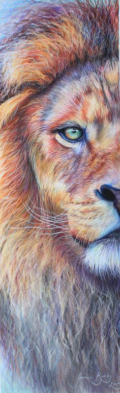"""Some days I have half the courage of a lion"" by Joanne Barby Lion of Judah will fight for you. Prophetic art painting."