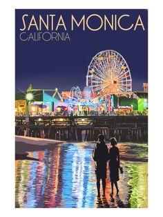 Santa Monica, California - Pier at Night Print by Lantern Press at Art.com