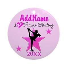 CHAMPION SKATER Ornament (Round) Inspire your lovely Skater with our personalized Figure Skating Tees, Apparel, and Gifts. http://www.cafepress.com/sportsstar/10189550 #Figureskating #Skatergirl #Borntoskate #Lovetoskate #Icequeen