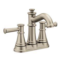 Moen 6401 Belfield GPM Centerset Bathroom Faucet - Includes Metal Pop-Up Dra Brushed Nickel Faucet Lavatory Double Handle Lavatory Faucet, Bathroom Sink Faucets, Best Bathroom Scale, Best Faucet, Brushed Nickel, Nickel Finish, Chrome Finish, Bathroom Furniture, Bathroom Rugs