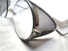 c942d55c8dd5 Vtg true steampunk sunglasses chrome universal ww2 silver mesh side shields