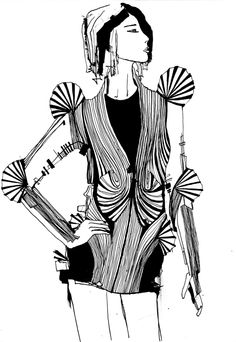 Fashion Sketch based on the Radiation Invasion collection by Iris van Herpen - fashion illustration // Inge Duiker