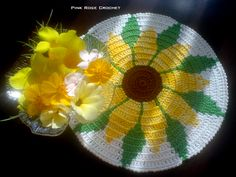 sunflowers crochet | Centrinho Girassol- Crochet Sunflower– | Pink Rose Crochet