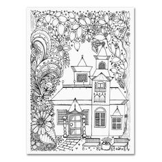 "Trademark Art 'Japanese Inspired House' by KCDoodleArt Graphic Art on Wrapped Canvas Size: 32"" H x 24"" W x 2"" D"