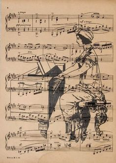 Vintage Sheet Music with Lady Piano Player Background Sheet Music Art, Music Paper, Vintage Sheet Music, Music Sheets, Music Painting, Music Artwork, Art Music, Book Page Art, Art Pages