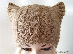 Women's cat hat, knit cat ear hat, knitted beige cat hat, cable beanie, animal hat, hat with small horns, light brown, Ready for shipping