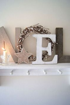 Christmas fireplace mantle piece display decoration wooden alphabet letters noel shabby chic french country