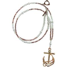 Long Anchor Pendant Necklace with Sparkling Crystals Glass Pearls Rose... ❤ liked on Polyvore featuring jewelry, necklaces, pendant necklaces, rose gold long necklace, rose gold pendant necklace, glass pendant necklace and anchor necklaces