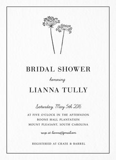 Baby's Breath Bridal Shower Invite card by Postable on Postable.com