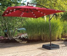 Wilson & Fisher Red Rectangular Offset Solar Light Umbrella, x - Big Lots Outdoor Tables And Chairs, Outdoor Dining Set, Outdoor Seating, Outdoor Living, Outdoor Decor, Outdoor Ideas, Outdoor Spaces, Outdoor Furniture, Furniture Sale