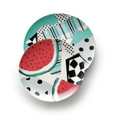 Party Collage Melamine Plates    Crate and Barrel