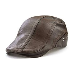 Mens Man-made Leather Solid Beret Hat Casual Autumn Warm Golf Forward Caps  Adjustable 8ab1a2839f2e