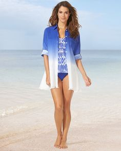 d1070ea5cb Soma Tommy Bahama Dip Dye Boyfriend Shirt Swim Cover Up Cover Up