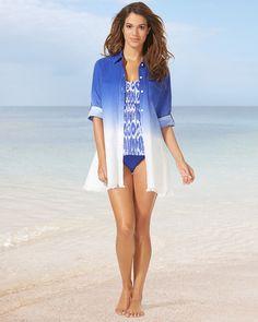 Soma Tommy Bahama Dip Dye Boyfriend Shirt Swim Cover Up Cover Up f34e5d235