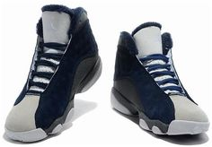 724916d6a6efce Air Jordan 13 Inside With Fluff Navy Blue White Shoes