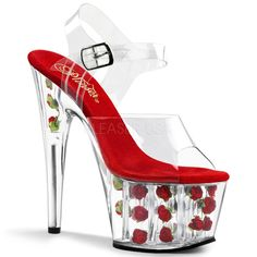 Pleaser Adore 708FL Clear 6 1/2 Inch High Heel Mid Platform Sandals with Red Flowers