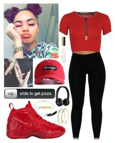 Cant handle this hotness  by aaliyahlee ❤ liked on Polyvore featuring NIKE, WearAll, Beats by Dr. Dre, L.A. Colors and Pieces
