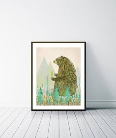 the forest keeper .colorful nature illustrations with artist Nature Illustrations, Cute Home Decor, Watercolours, Nursery Wall Art, Colorful Decor, Mystic, Giclee Print, Whimsical, Etsy