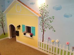 Play house under the stairs. Complete with working light, doorbell, and mailbox. Under Stairs Playhouse, Indoor Playhouse, Kids Play Area, Kids Room, Staircase Storage, Wendy House, Home Daycare, Dream House Exterior, Kids Corner