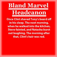 <Bland Marvel Headcanons>  And thus was the beginning of a long an hilarious prank war: Clint, Natasha, and Steve vs. Tony, Bruce, and Thor. Vision helps both sides prepare pranks, and Wanda is still a bit wary of messing with the Avengers heads again, so she simply blogs about it.
