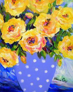 Azul y amarillo todavía vida Original de pintura de 16 x 20 arte de Elaine Cory