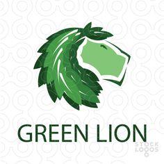 Logo of lion with leaf mane. Key ideas, animal, lion, mane, leaf, plant, flora…