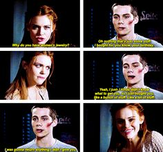 Teen Wolf-Lydia and Stiles. Omg, this is so sweet! Lydia is so use to being in terrible relationships, I mean Jackson barely even noticed her at the dance, and here Stiles is being all sweet and Stiles-and it just makes her look so happy.