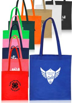 Popular  None-Woven Tote Bags! Get them in different colors and use them for trade shows, grocery shopping or traveling! They can be custom printed with your logos, graphic designs or choice of text.