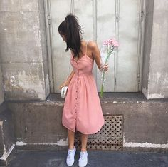 Pink dress, white trainers