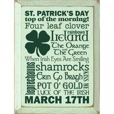 Irish Wall Decoration St Patricks Day Clover Hanging Green Distressed Wood Board