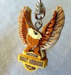 "Harley Davidson Motor Cycles Eagle Wings Key-chain Wooden 2 1/2"" #HarleyDavidson"