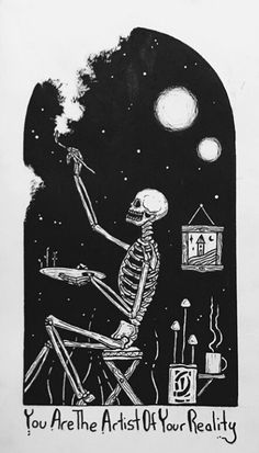 Artist of your reality - Zeichnungen traurig - Kunst Art Sketches, Art Drawings, Drawings Of Love, Art Du Croquis, Skeleton Art, Skeleton Drawings, Halloween Drawings, Arte Obscura, Skull Art