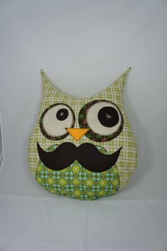 Large Owl Decorative Pillow - green mustache  If you see an idea anywhere chances are we can make it, or we know someone who can! Just visit us on our facebook page or call us 765-744-1080 (10:00am to 6:00pm EST)  Find out more about me at: https://www.facebook.com/pages/Rustic-Farmhouse-Decor