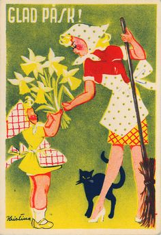 Glad Påsk-In old Swedish folk tales, an Easter witch is a woman who flies on a broomstick to the island of Blåkulla, either on Maundy Thursday or on the night between Holy Wednesday and Maundy Thursday, to return on Easter Sunday. Modern-day Easter witches instead hand out Easter letters, wishing everyone a Happy Easter and often receive sweets in return.