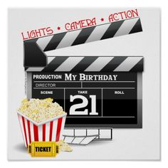 Shop Birthday Movie Party Poster created by birthdayzoo. Birthday Movie, 35th Birthday, Birthday Ideas, Birthday Posters, Disfraz Katy Perry, Movie Themes, Movie Party, Party Fun, Personalized Birthday Gifts