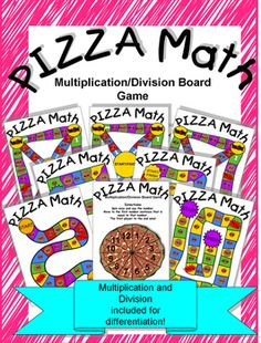 Digital download, $5, available at https://www.teacherspayteachers.com/Product/Pizza-Math-MD-Board-Game-2306278  Just in time for the big game! This is the updated Multiplication/Division version of Pizza Math. Here's a board game that great for math centers, summer school, home school activities or just for fun! Pizza Math is a great way to help students review and/or make connections between multiplication and division.