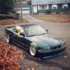 Laguna green BMW e36 cabrio on BBS for Nardi wheels and BBS front spoiler