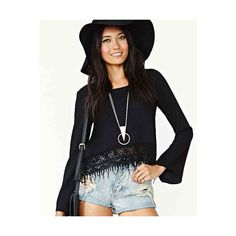 Black Asymmetrical Embroidery Hem Chiffon Shirt DR0130178 ($20) ❤ liked on Polyvore featuring tops, black, embroidered crop top, chiffon top, asymmetrical crop top, crop top and embroidery shirts