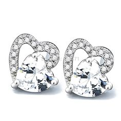 K-DESIGN GNE1114 New arrival Silver Stud Earring 925 Sterling silver Jewelry S925 stamp Silver Love Heart Earrings For Girl >>> Check this awesome product by going to the link at the image.