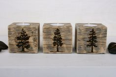 Rustic Wooden Tealight Holders with Tree Designs - Set of 3 - Reclaimed Wood via Etsy