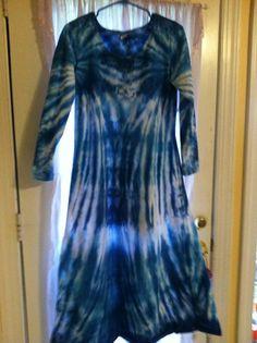 Tie Dye long sleeve dress in blue by NereidasNiftyThreads on Etsy, $40.00
