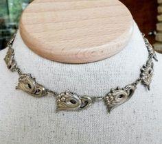Vintage Danecraft Sterling Repousse Link Choker Necklace 27.2 Grams 1940s