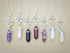 Crystal Point Necklace // Pentagram Necklace // by qwelqwel