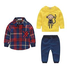 Baby boy clothes monkey cotton t-shirt +plaid outwear+casual pants newborn boy clothes baby clothing set - Kid Shop Global - Kids & Baby Shop Online - baby & kids clothing, toys for baby & kid Baby Boy Clothing Sets, Newborn Boy Clothes, Baby Boy Newborn, Baby Boys, Suit Clothing, Toddler Boys, Baby Outfits, Newborn Outfits, Baby Boy Suit