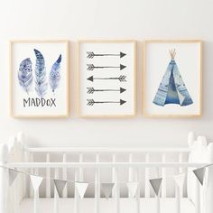 Nursery Prints - Set of 3. Boys Tribal Boho Watercolour Teepee, Feathers